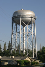 Modern water tower on Villa Avenue