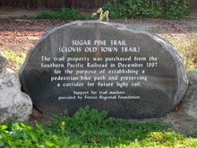 Marker at the northern end of the Clovis Old Town Trail