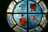 Stained glass window, Peanuts Museum, Santa Rosa CA